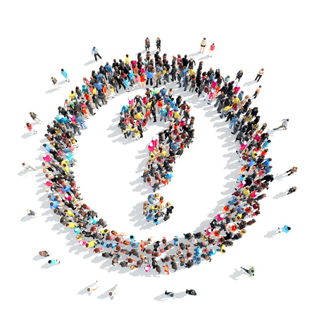 A large group of people in the shape of a question mark.