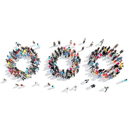 Een grote groep mensen in de vorm van abstracte symbolen. Geïsoleerd, witte achtergrond. Stockfoto - 41395210
