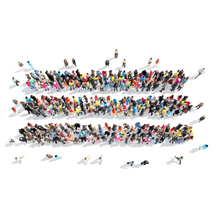 towards: A large group of people in the shape of abstract symbols. Isolated, white background. Stock Photo