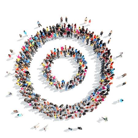 抽象化されたシンボルの形をした人々 の大規模なグループ。分離、白背景。 写真素材