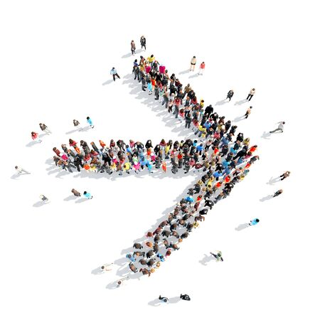 large group of business people: Large group of people in the form of arrows, business, and technology. Isolated, white background.