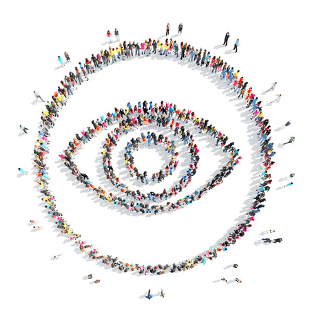 eyelid: A large group of people in the shape of the eye.