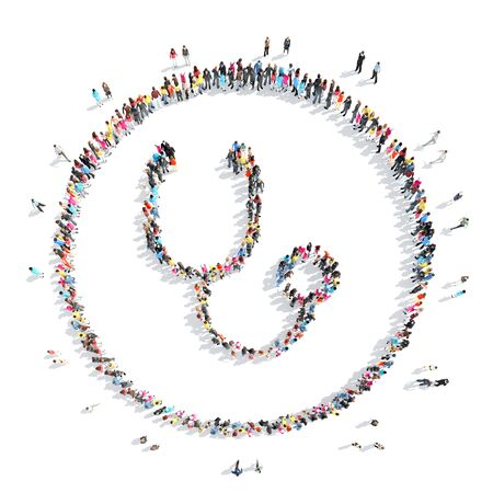 science symbols metaphors: A large group of people in the shape of a medical stethoscope. Stock Photo