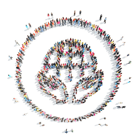 A large group of people in the shape of a globe . Isolated, on a white background.