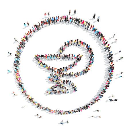 caduceus medical symbol: A large group of people in the shape of a  caduceus medical symbol. Stock Photo