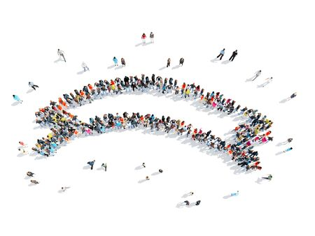 mob: A group of people in the shape of ribbons, flash mob. Stock Photo