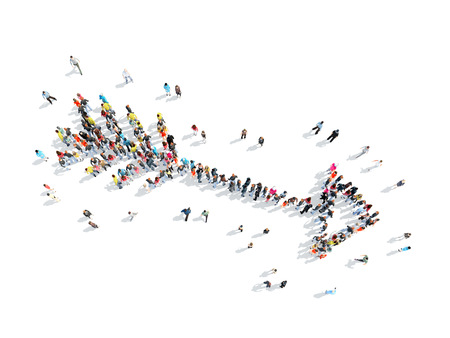 A group of people in the shape of an arrow, a flash mob. Stock Photo