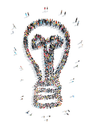 mob: Group of people in the shape of lamp, flash mob, an idea. Stock Photo