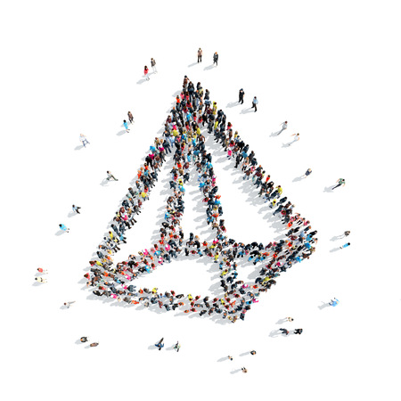 physiological: A group of people in the shape of a pyramid, a flash mob. Stock Photo