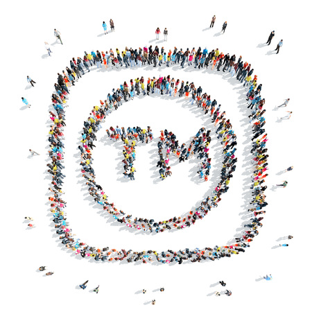 mob: A group of people in the shape of a trade mark, a flash mob.