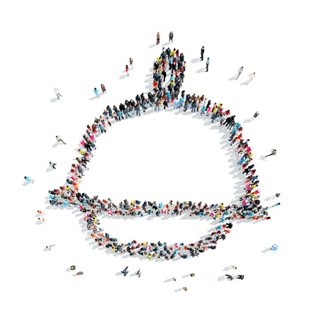 mob: A group of people in the shape of a cap, a flash mob. Stock Photo