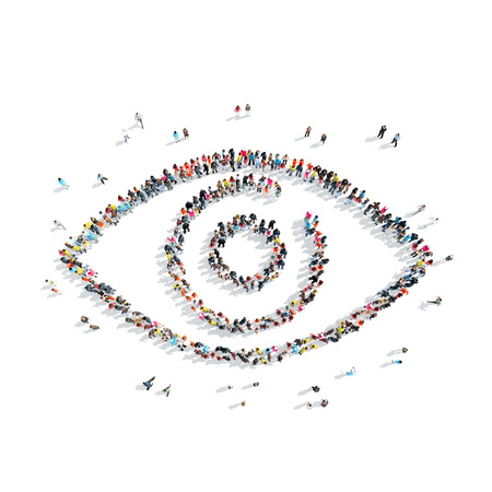 A group of people in the shape of an eye, a flash mob.