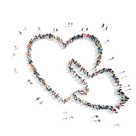 listening to heartbeat: A group of people in the shape of heart,  flash mob. Stock Photo
