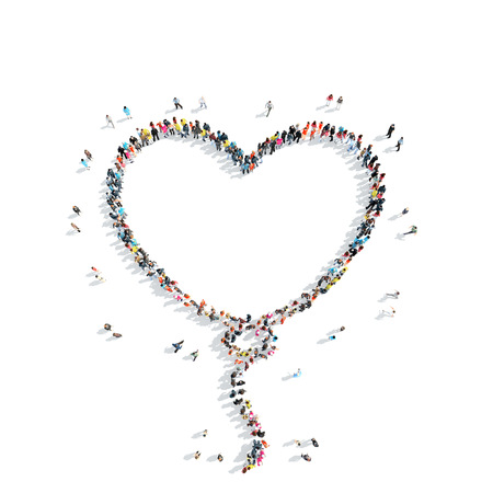 female form: A group of people in the shape of a balloon, heart, flash mob. Stock Photo