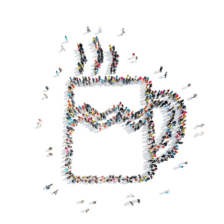 woman drinking milk: A group of people in the shape of coffee, a flash mob.