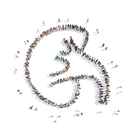 A group of people in the shape of kidney , medicine, a flash mob.