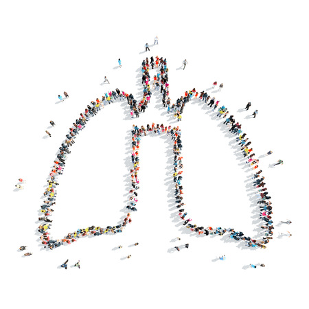 lung transplant: A group of people in the shape of lungs , medicine, a flash mob.