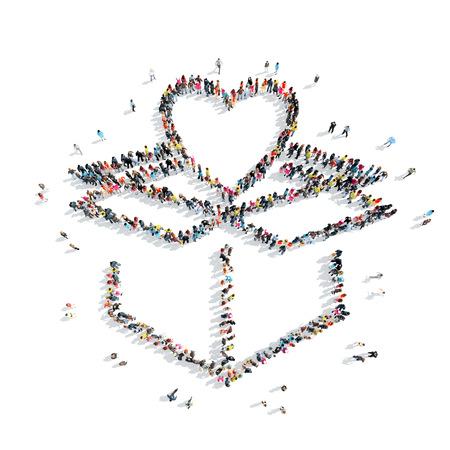 illness: A group of people in the shape of heart,  flash mob. Stock Photo