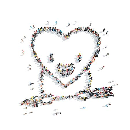 mileage: A group of people in the shape of heart, cardio, flash mob. Stock Photo