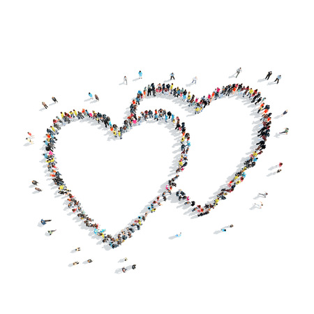 cardiovascular exercising: A group of people in the shape of heart, cardio, flash mob. Stock Photo