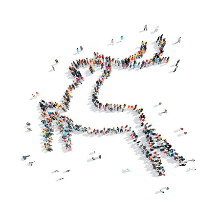 mob: A group of people in the shape of deer, christmas, flash mob. Stock Photo