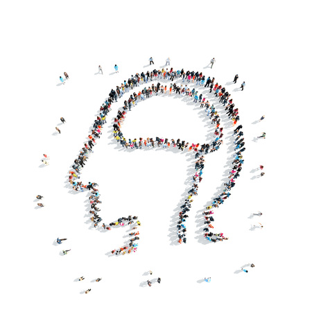 telepathy: A group of people in the shape of a man, the brain, a flash mob. Stock Photo