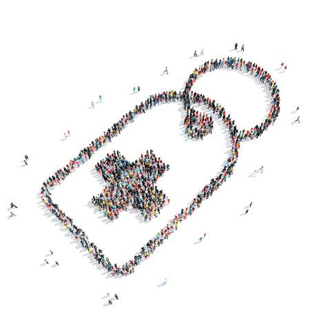 simbolo medicina: Un grupo de personas en forma de etiqueta, la medicina, flash mob.