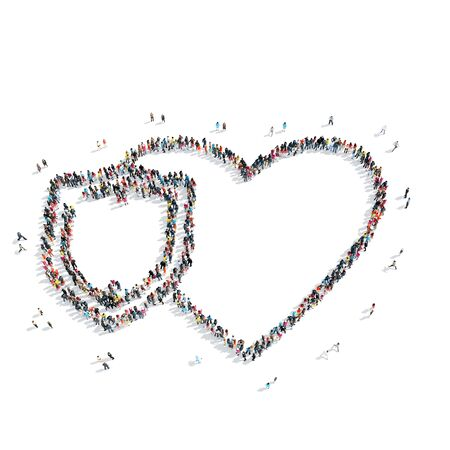 mob: A group of people in the shape of heart,  flash mob. Stock Photo