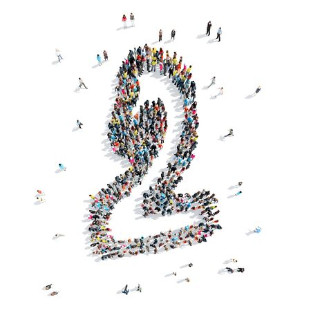0 1 year: A group of people in the shape of the figure two, cartoon, flash mob. Stock Photo