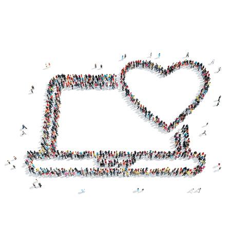 Een groep mensen in de vorm van een computer, hart, flash mob. Stockfoto - 43178081