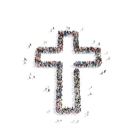 Een groep mensen in de vorm van een katholiek kruis, godsdienst, flashmob.