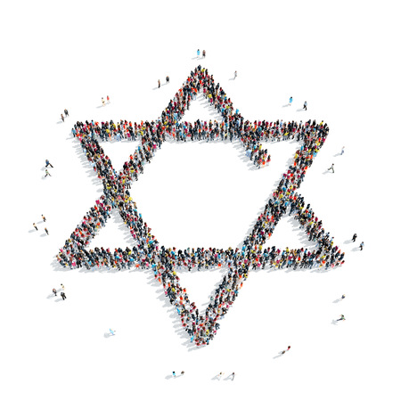 jewish group: A group of people in the shape of a Jewish star, religion, flashmob.