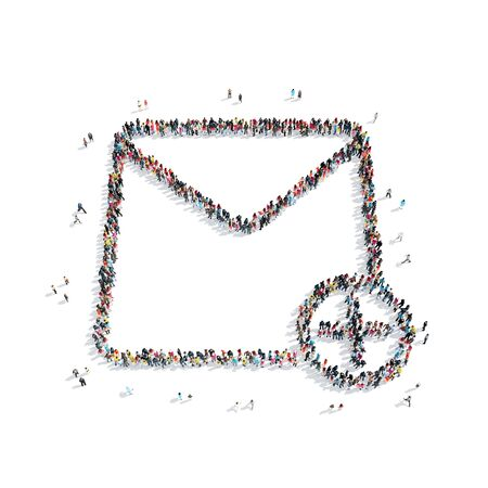 medium group of people: A group of people in the shape of a letter, e-mail, a flash mob. Stock Photo