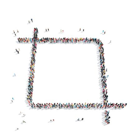 A group of people in the shape of the frame, a flash mob. Stock Photo
