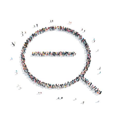 policia caricatura: Un grupo de personas en la forma de un vaso, b�squeda, flash mob de aumento.
