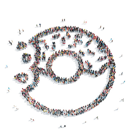 donut shape: A group of people in the shape of a donut, a flash mob.