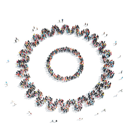 mob: A group of people in the shape of gears, a flash mob.