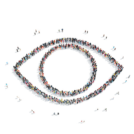small group of objects: A group of people in the shape of an eye, a flash mob.
