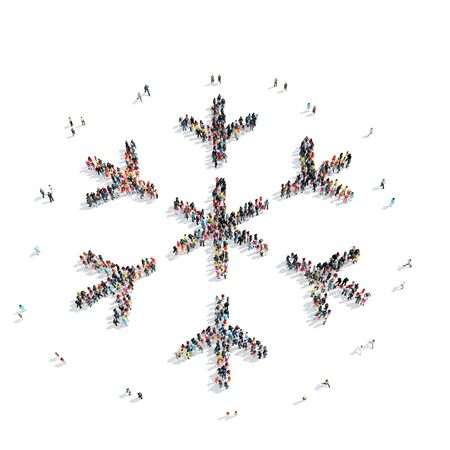 mob: A group of people in the shape of snowflakes, flash mob.