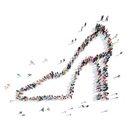 young woman legs up: A group of people in the shape of shoe, a flash mob. Stock Photo