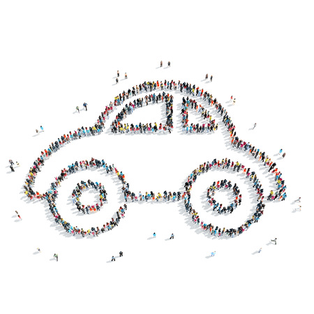 mob: A group of people in the shape of a toy car, a flash mob.