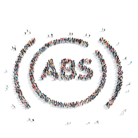 scarce resources: A group of people in the shape of the ABS system, the car, flash mob.