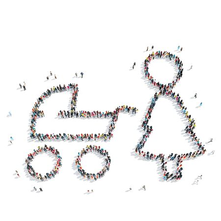 scarce resources: A group of people in the form of mother with a baby carriage, a child, a flash mob. Stock Photo