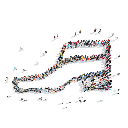 mob: A group of people in the shape of shoe, a flash mob. Stock Photo
