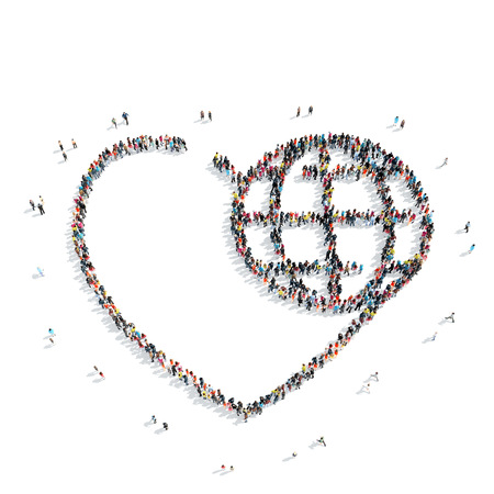 A group of people in the shape of hearts,  flash mob.