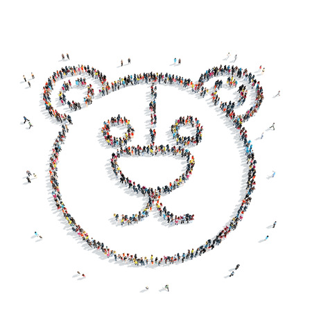 mob: A group of people in the shape of a bear, a toy, a flash mob. Stock Photo