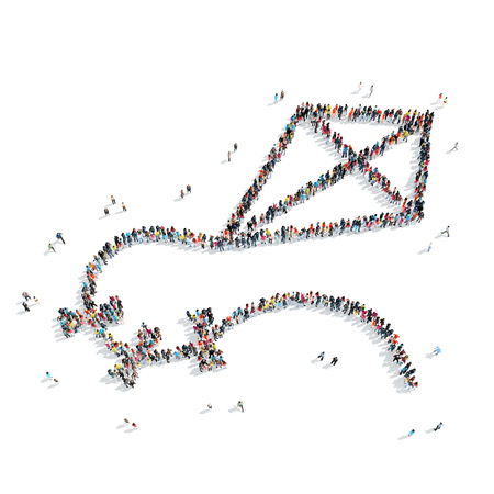 mob: A group of people in the shape of a kite, a toy, a flash mob. Stock Photo