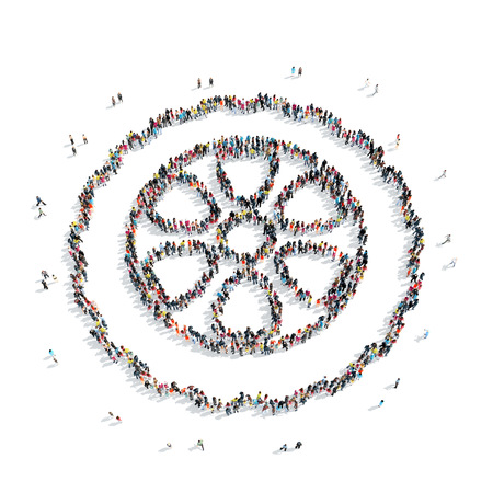 skidding: A group of people in the shape of a wheel, the car , flash mob. Stock Photo