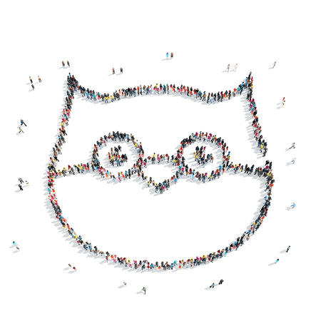 frog queen: A group of people in the shape of an owl, cartoon, flash mob. Stock Photo
