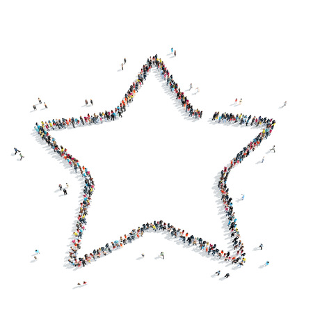 mob: A group of people in the shape of a star, a flash mob. Stock Photo
